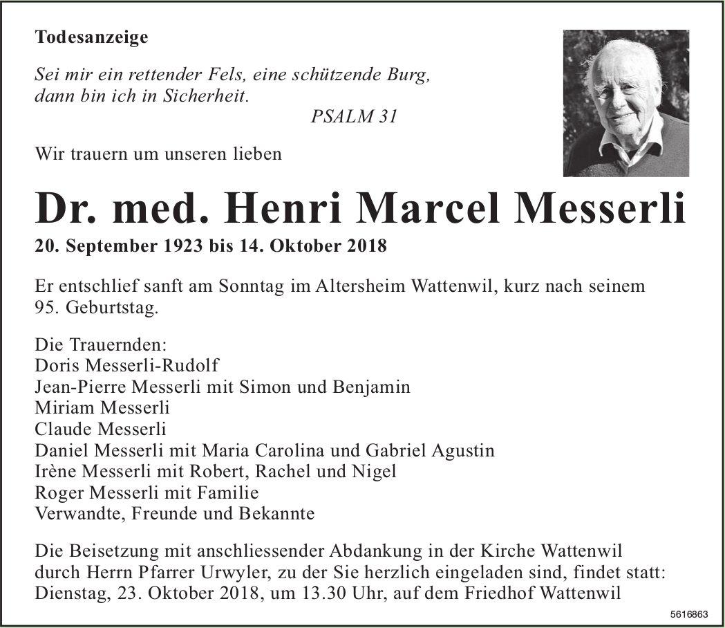 Dr. med. Messerli Henri Marcel, Oktober 2018 / TA