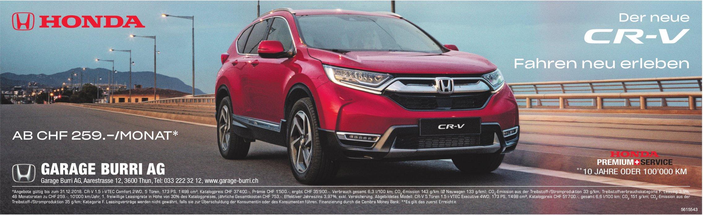 GARAGE BURRI AG - Der neue Honda CR-V: Fahren neu erleben