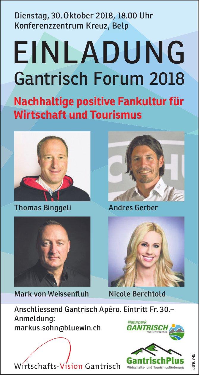 EINLADUNG Gantrisch Forum 2018 in Belp am 30. Oktober