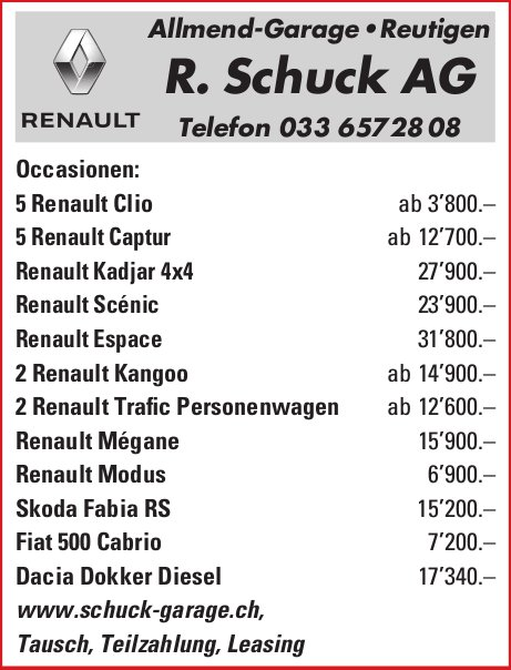 Allmend-Garage R. Schuck AG, Reutigen - Occasionenmarkt