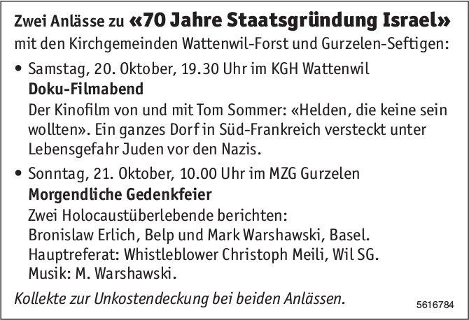 Zwei Anlässe zu «70 Jahre Staatsgründung Israel», 20. + 21. Okt.
