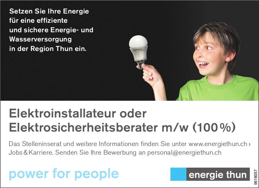 Elektroinstallateur oder Elektrosicherheitsberater m/w (100 %) bei Energie Thun gesucht