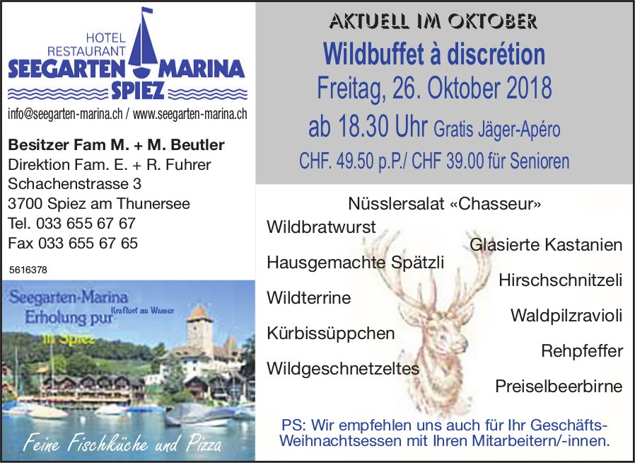 Hotel Restaurant Seegarten Marina Spiez - Wildbuffet à discrétion am 26. Oktober