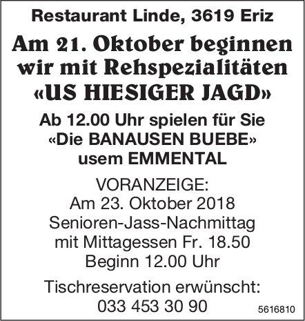 Restaurant Linde, Eriz - Rehspezialitäten «US HIESIGER JAGD» ab 21. Oktober