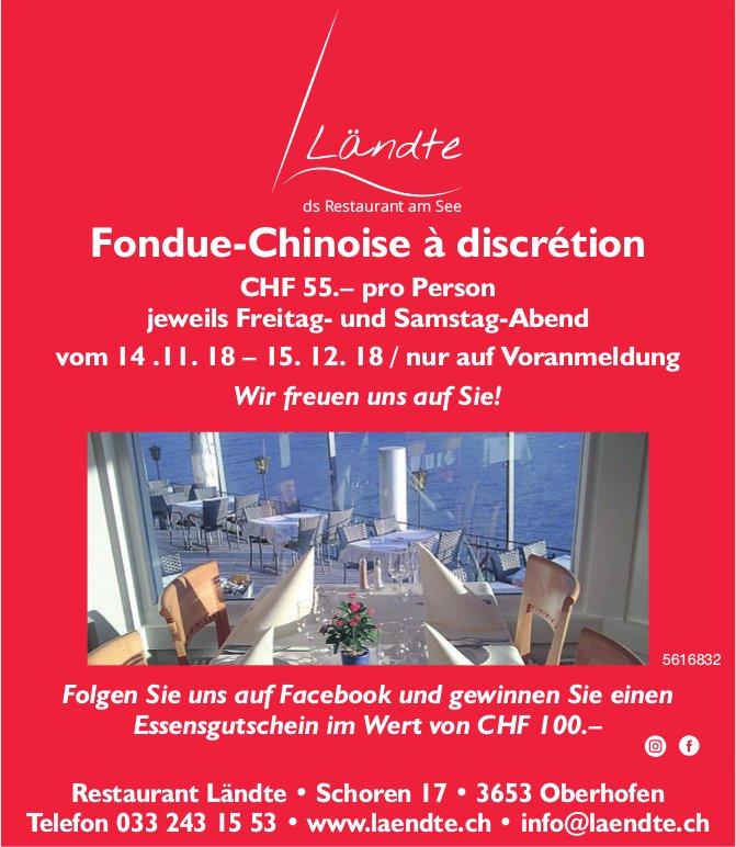 Restaurant Ländte Oberhofen - Fondue-Chinoise à discrétion jeweils Freitag- und Samstag-Abend