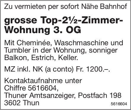 Grosse Top-2½-Zimmer- Wohnung 3. OG Nähe Bahnhof zu vermieten