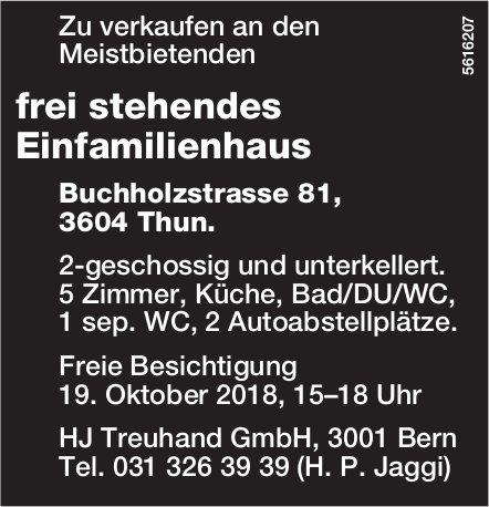 Frei stehendes Einfamilienhaus in Thun zu verkaufen - Freie Besichtigung am 19. Oktober