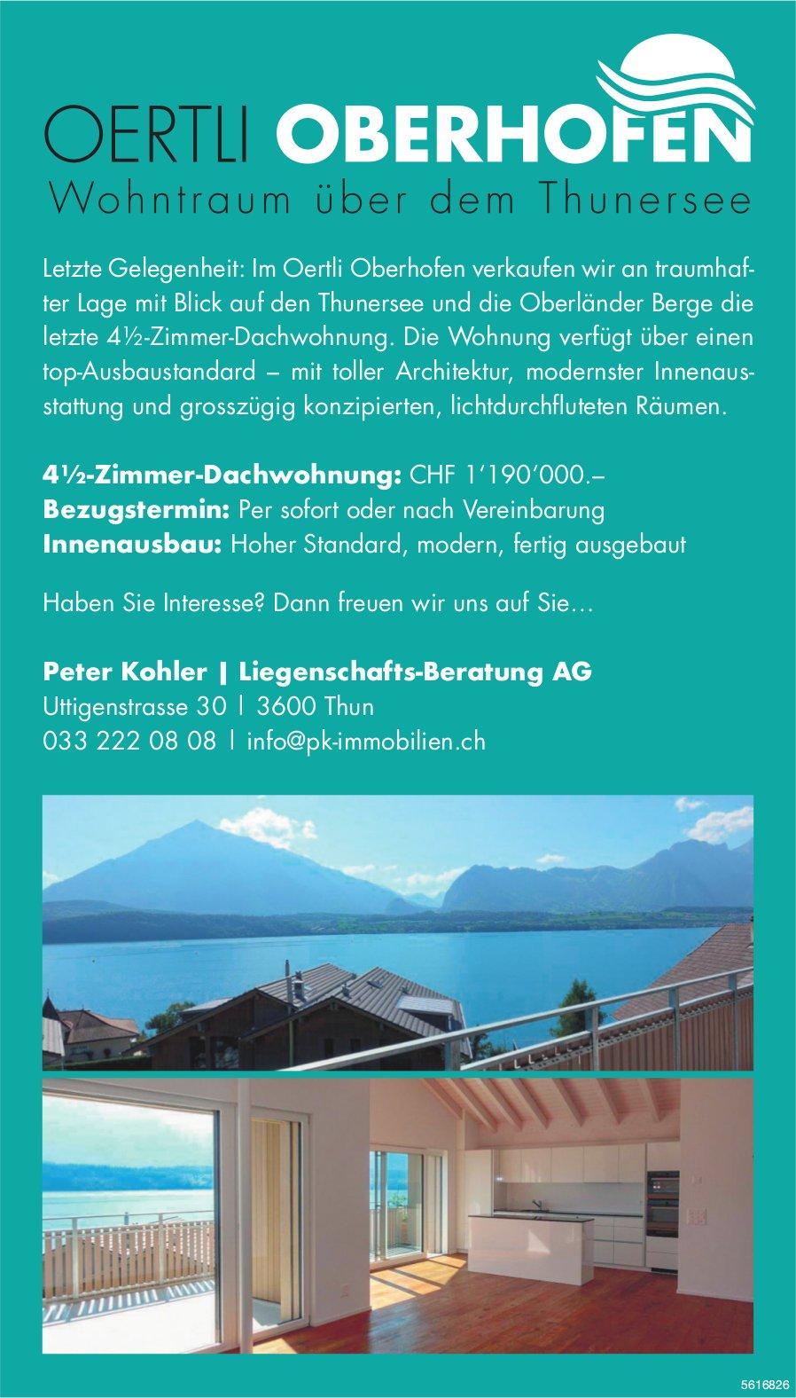4½-Zimmer-Dachwohnung im Oertli Oberhofen zu verkaufen
