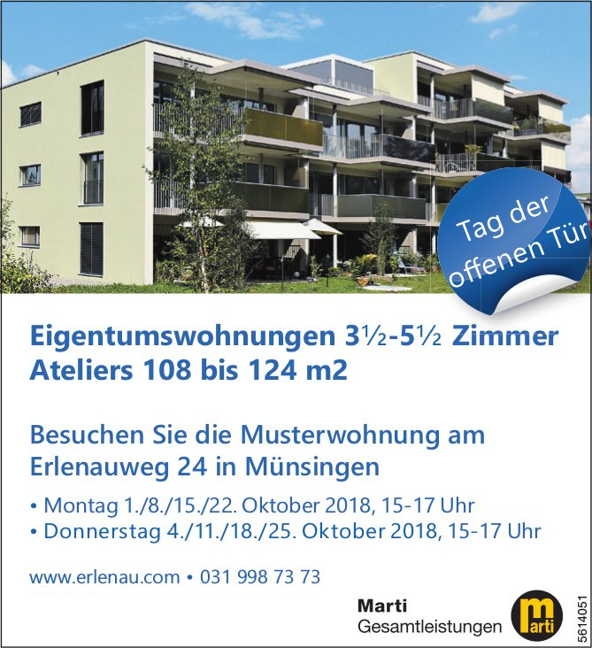Eigentumswohnungen 3½-5½ Zimmer / Ateliers 108 bis 124 m2 in Müsingen - Besichtigungsdatum