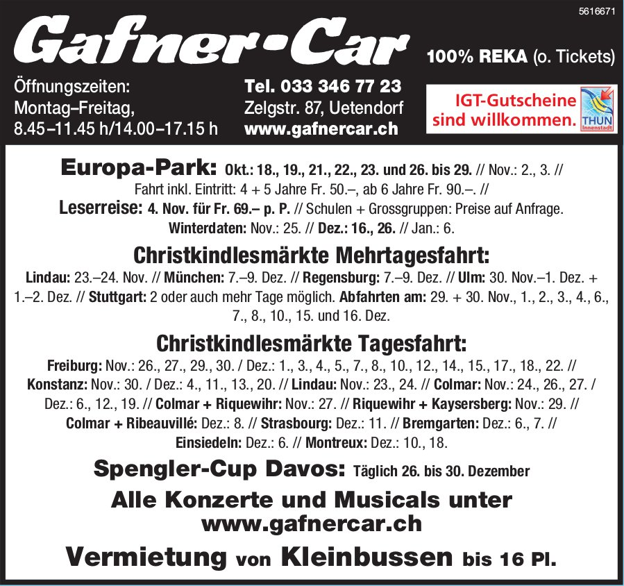 Gafner-Car - Programme & Events