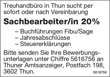 Sachbearbeiter/in 20% bei Treuhandbüro in Thun gesucht