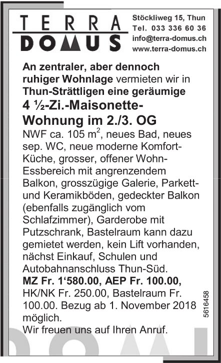 4.5-Zi.-Maisonette-Wohnung im 2./3. OG in Thun-Strättligen zu vermieten