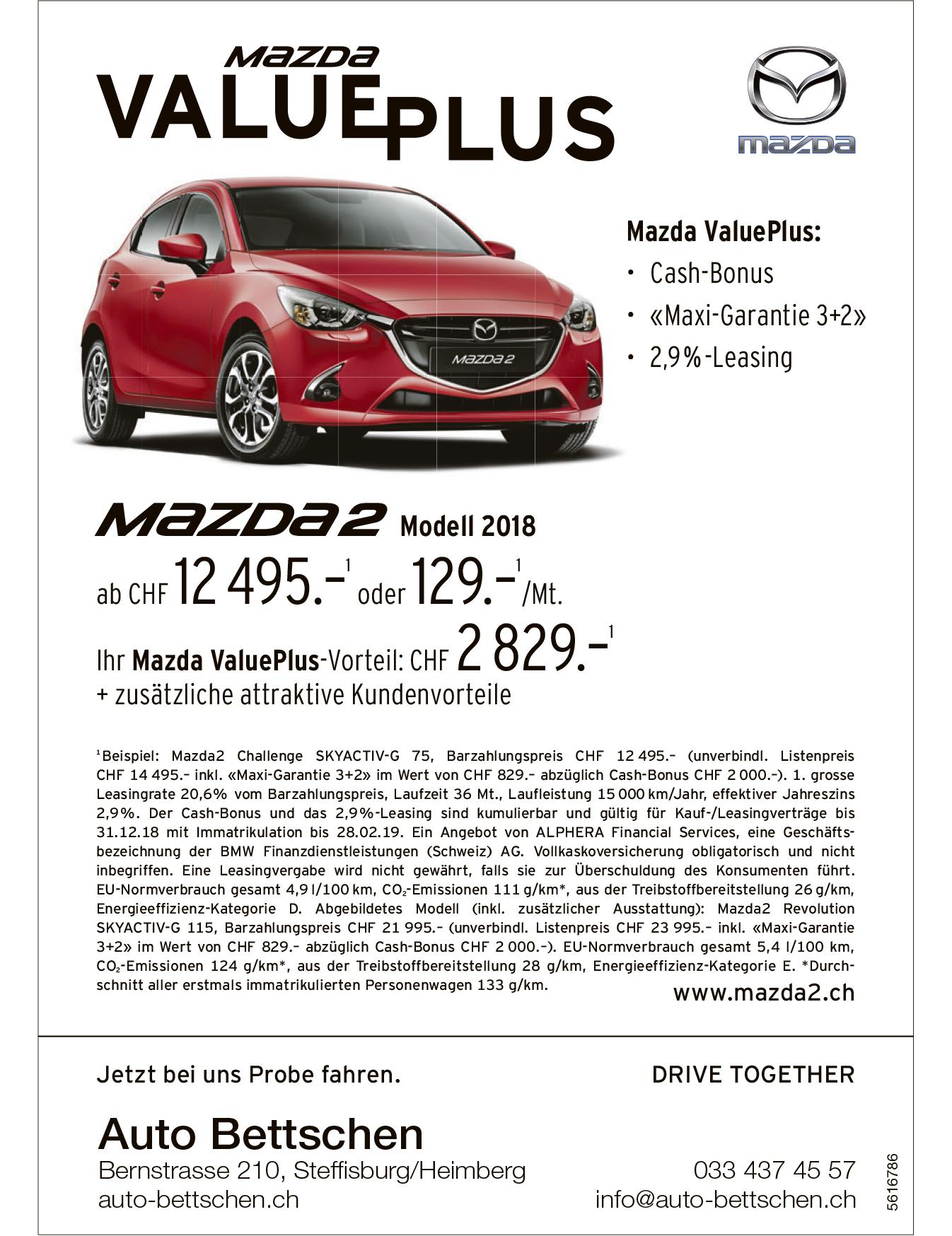 MAZDA 2 Modell 2018 - Mazda ValuePlus