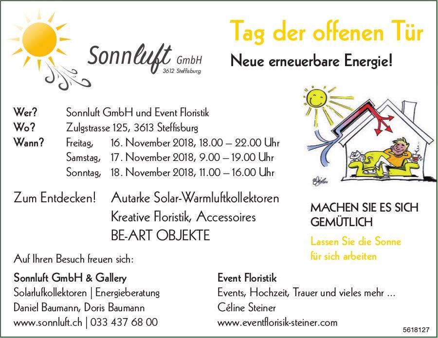 Tag der offenen Tür, 16. - 18. November, Sonnluft GmbH und Event Floristik, Steffisburg