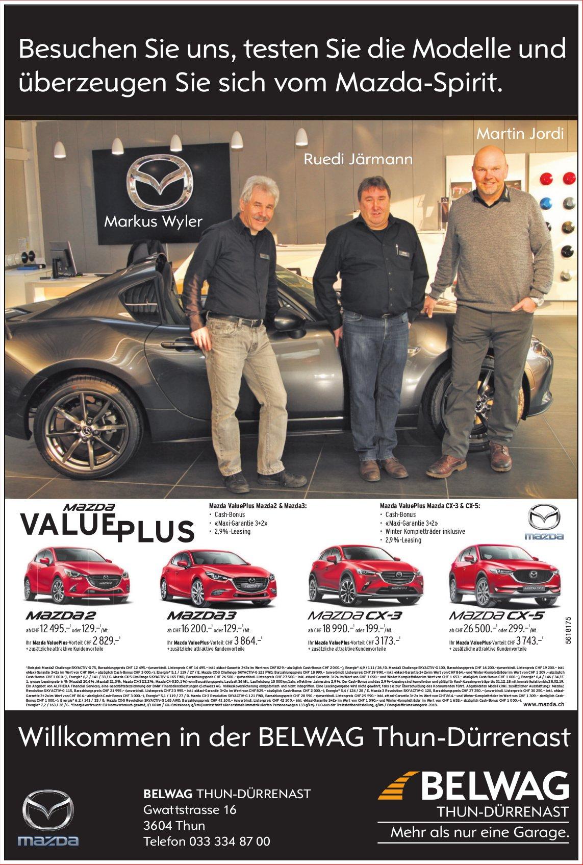 BELWAG Thun-Dürrenast - Testen Sie die Modelle und überzeugen Sie sich vom Mazda-Spirit.