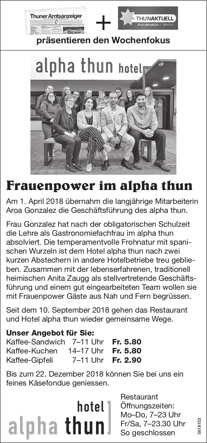 Frauenpower im alpha thun Hotel