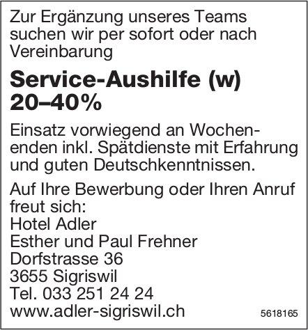 Service-Aushilfe (w) 20–40%, Hotel Adler, Sigriswil, gesucht