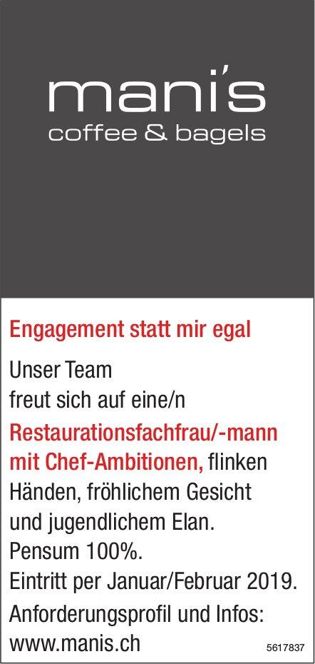 Restaurationsfachfrau/-mann mit Chef-Ambitionen, mani's coffee & bagels, gesucht