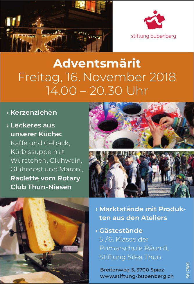 Stiftung Bubenberg - Adventsmärit am 16. November