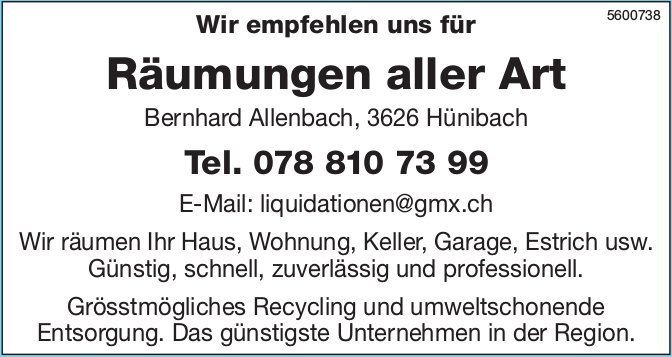 Bernhard Allenbach - Wir empfehlen uns für Räumungen aller Art