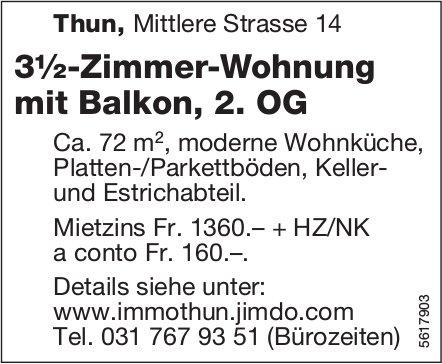 3½-Zimmer-Wohnung mit Balkon, 2. OG in Thun zu vermieten