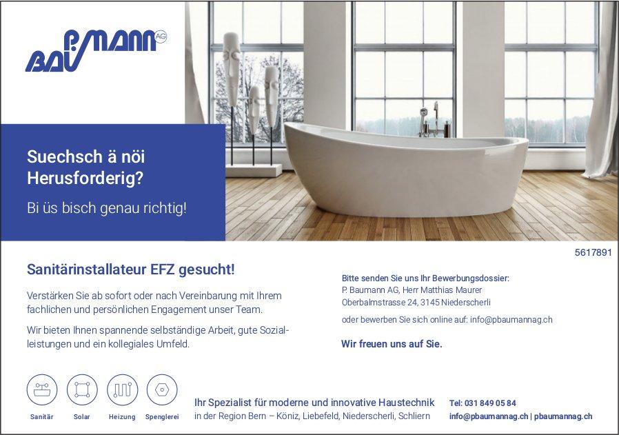 Sanitärinstallateur EFZ gesucht! - P. Baumann AG, Niederscherli