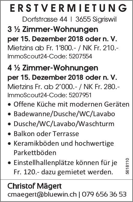 Erstvermietung von 3 ½ Zimmer-Wohnungen und 4 ½ Zimmer-Wohnungen in Sigriswil