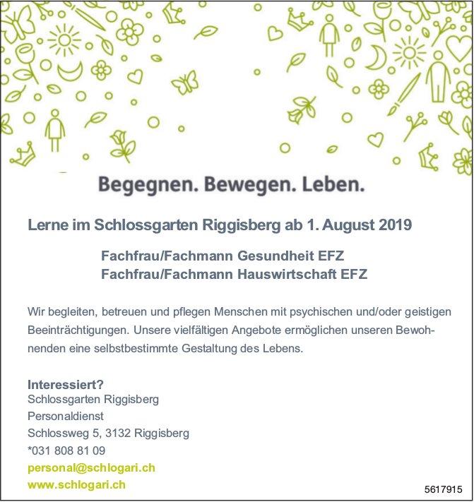 Lehrstelle Fachfrau/-mann Gesundheit EFZ Fachfrau/-mann Hauswirtschaft EFZ, Schlossgarten Riggisberg