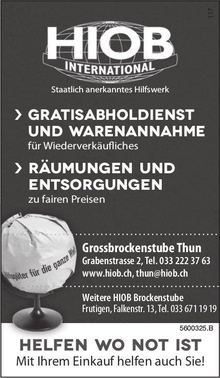 HIOB INTERNATIONAL - GRATISABHOLDIENST UND WARENANNAHME