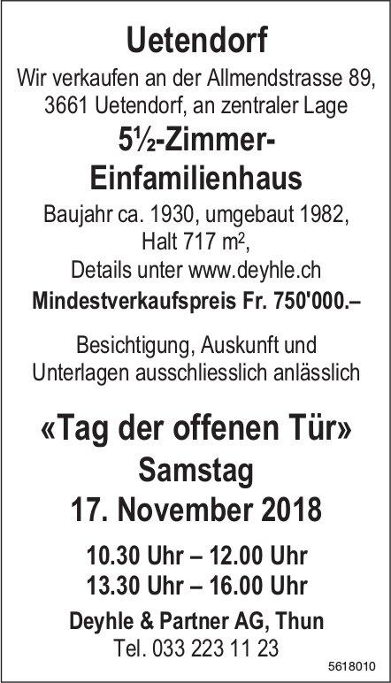 5½-Zimmer- Einfamilienhaus in Uetendorf zu verkaufen / Tag der offen Tür am 17. November