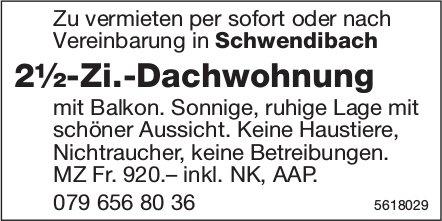 2½-Zi.-Dachwohnung in Schwendibach zu vermieten