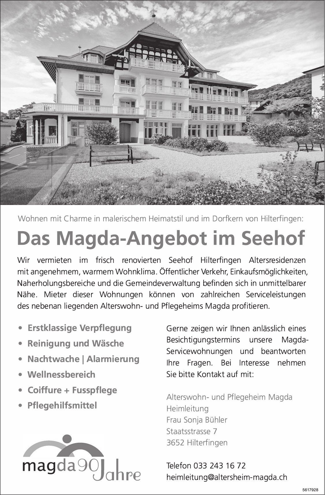 Das Magda-Angebot im Seehof, Hilterfingen