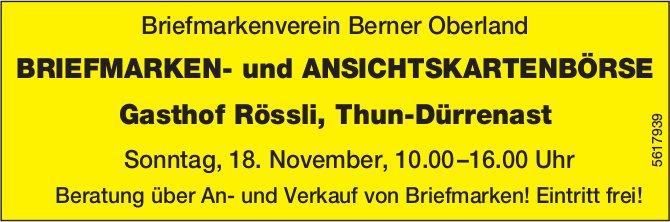 Briefmarkenverein Berner Oberland - BRIEFMARKEN- und ANSICHTSKARTENBÖRSE in Thun-Dürrenast am 18.11.