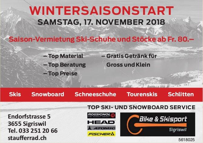 Bike & Skisport Sigriswil - Wintersaisonstart am 17. November
