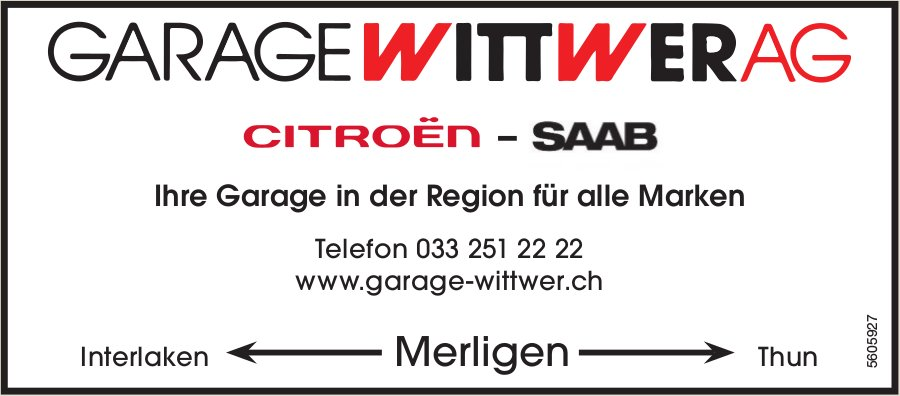 GARAGE WITTWER AG, Citroën/Saab - Ihre Garage in der Region für alle Marken