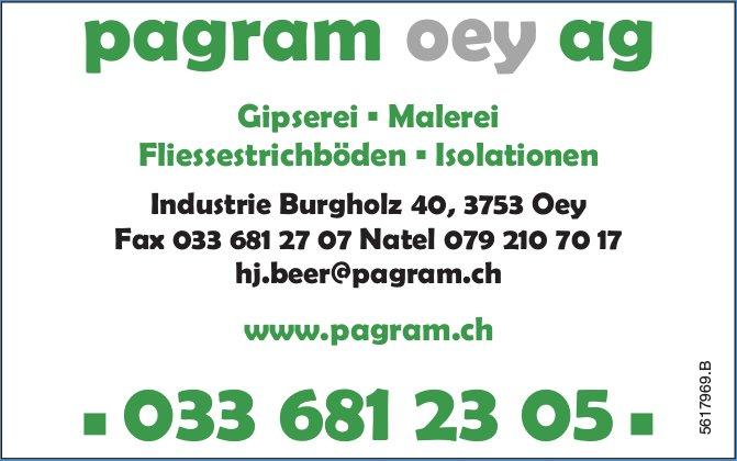 Pagram Oey AG - Gipserei, Malerei, Fliessestrichböden, Isolationen