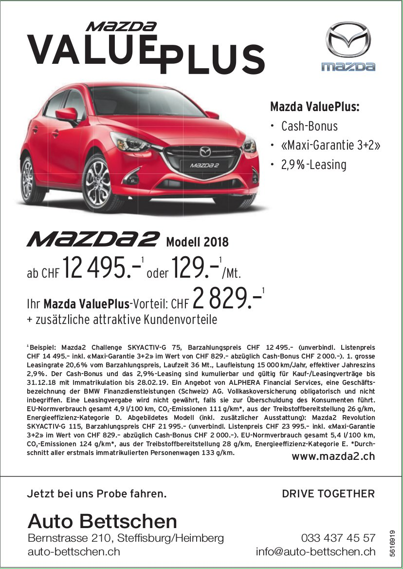 Auto Bettschen, Steffisburg/Heimberg - Mazda VALUE PLUS