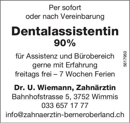 Dentalassistentin 90%, Dr. U. Wiemann, Zahnärztin, Wimmis, gesucht