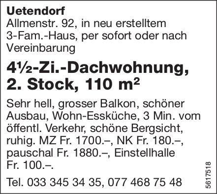 4½-Zi.-Dachwohnung, 2. Stock, 110 m2, in Uetendorf zu vermieten