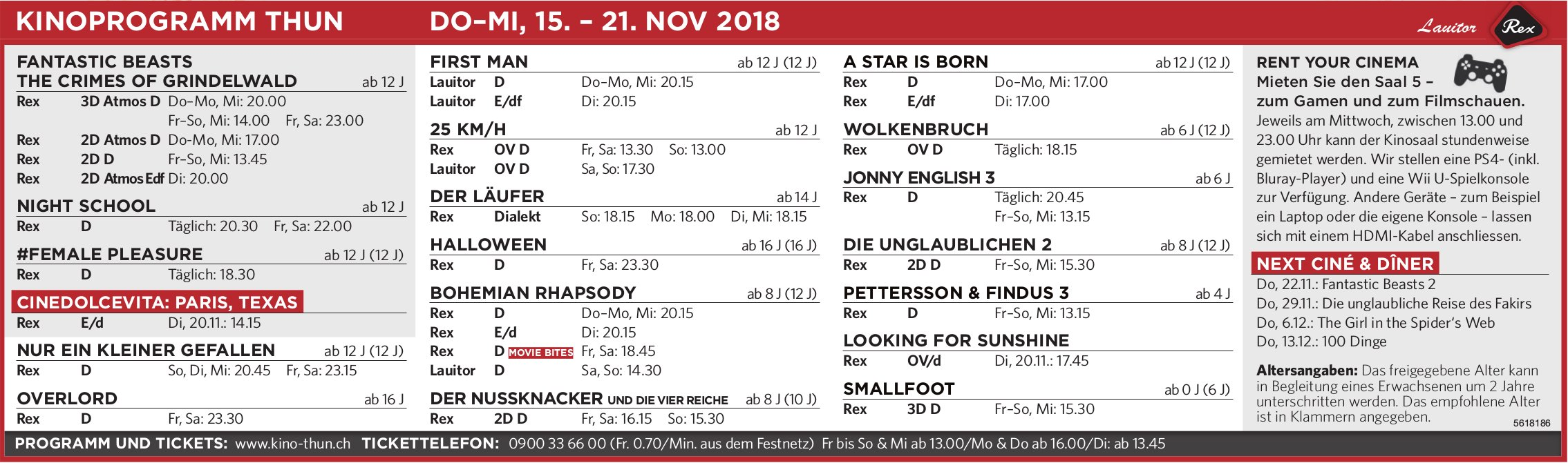 KINOPROGRAMM THUN, DO–MI, 15. – 21. NOV.