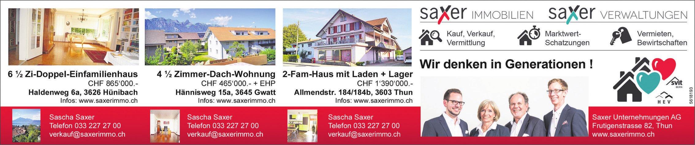 Saxer Unternehmungen AG - Immobiliensbulletin