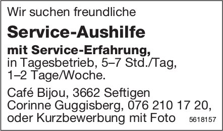 Service-Aushilfe, Café Bijou, Seftigen, gesucht