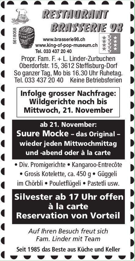 RESTAURANT BRASSERIE, Wildgerichte noch bis 2. November, Steffisburg-Dorf