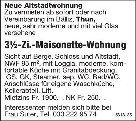 3½-Zi.-Maisonette-Wohnung im Bälliz in Thun zu vermieten