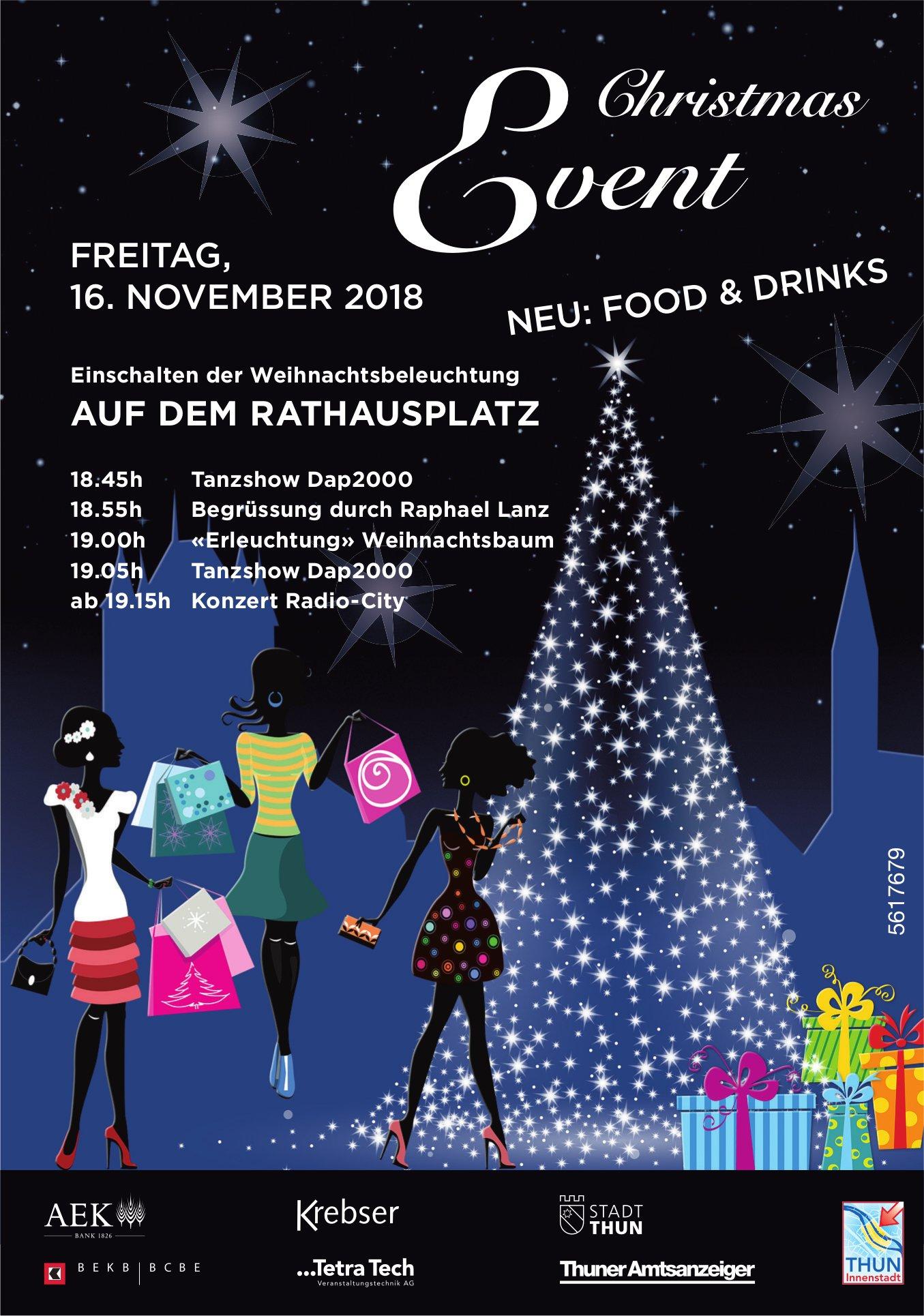 Christmas Event, 16. November, Einschalten der Weihnachtsbeleuchtung AUF DEM RATHAUSPLATZ