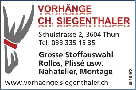 VORHÄNGE CH. SIEGENTHALER - Grosse Stoffauswahl Rollos, Plissé usw.