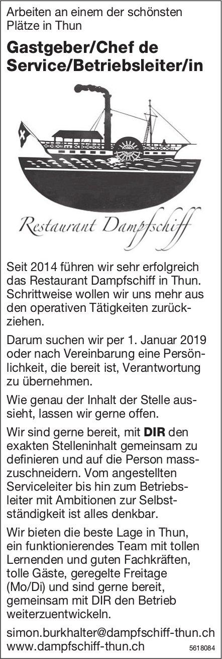 Gastgeber/Chef de Service/Betriebsleiter/in, Restaurant Dampfschiff, Thun, gesucht