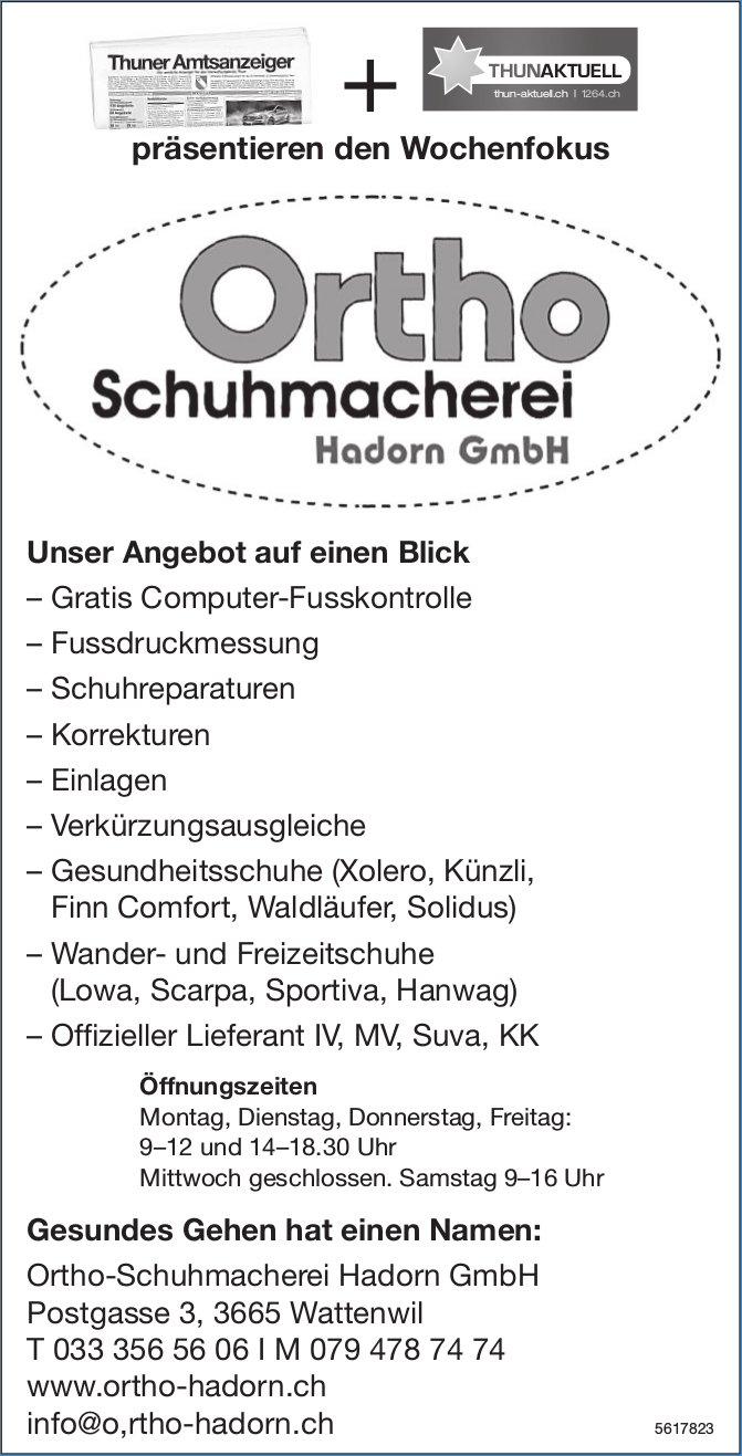 Ortho-Schuhmacherei Hadorn GmbH - Unser Angebot auf einen Blick
