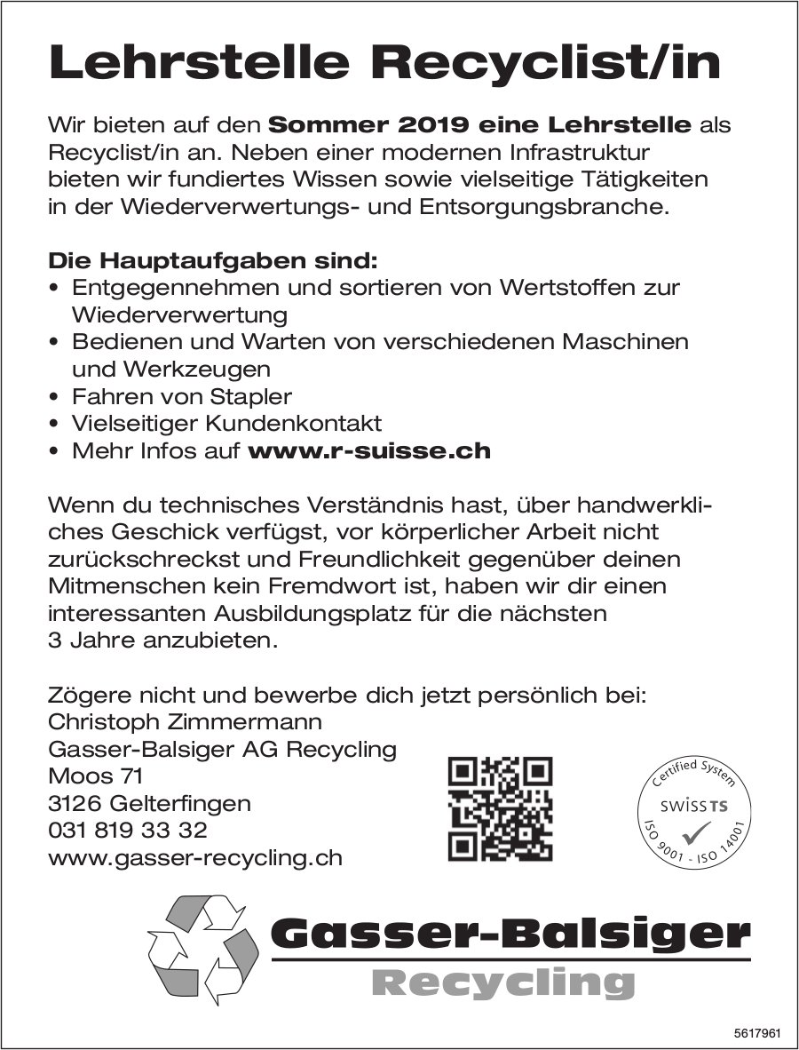Lehrstelle Recyclist/in, Gasser-Balsiger AG Recycling, Gelterfingen, zu vergeben