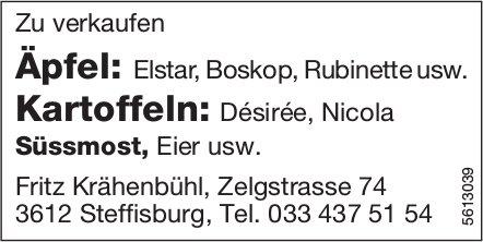 Äpfel, Kartoffeln, Süssmost, Eier usw. zu verkaufen - Fritz Krähenbühl